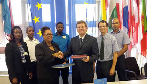 L-R : Ms. Timolyn Barclay ( Reinforcement Officer, Merundoi)Mr. Neville Butts ( Area Rep., Guyana Bible Society), Ms. Margaret Lawrence ( Exec. Dir. , Merundoi) , Mr. Durwin Humphrey, ( Project Manager, Merundoi), Ambassador Robert Kopecký(Head of the European Union Delegation in Guyana), Mr. Benedikt Madl ( Head, Bilateral Section EU Delegation) and Mr. Brian Sukhai( Programme Officer, EU Delegation).